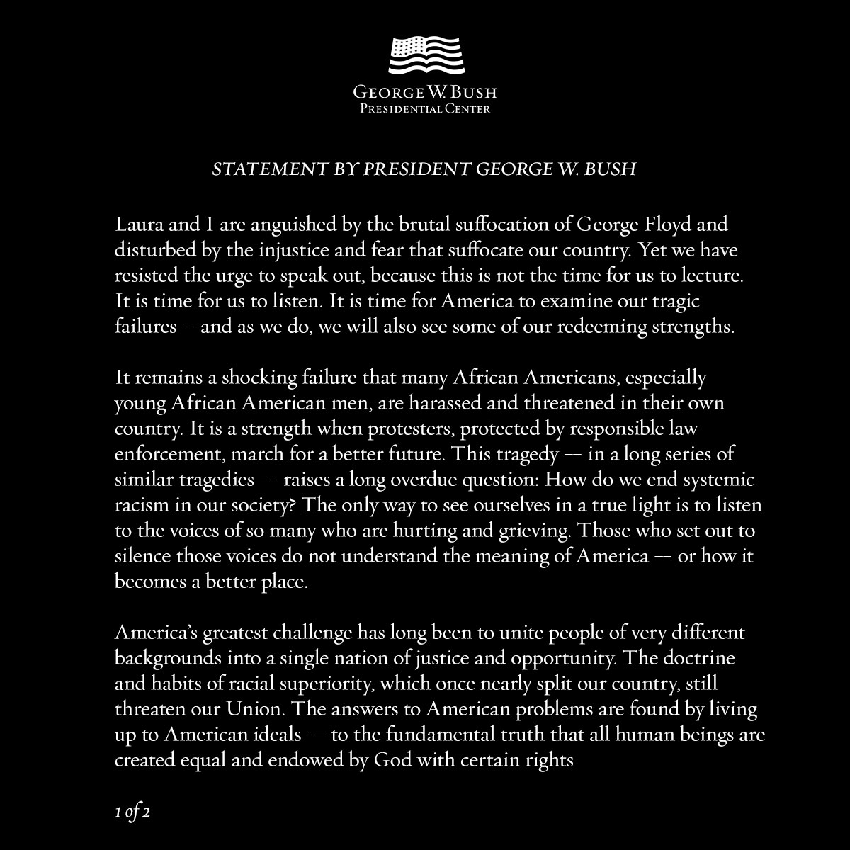 Statement by President George W. Bush