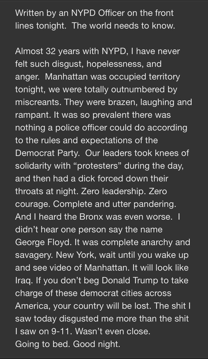 Sent by a source I trust, from an NYPD officer on the streets last night. https://t.co/mn0Hn90onz