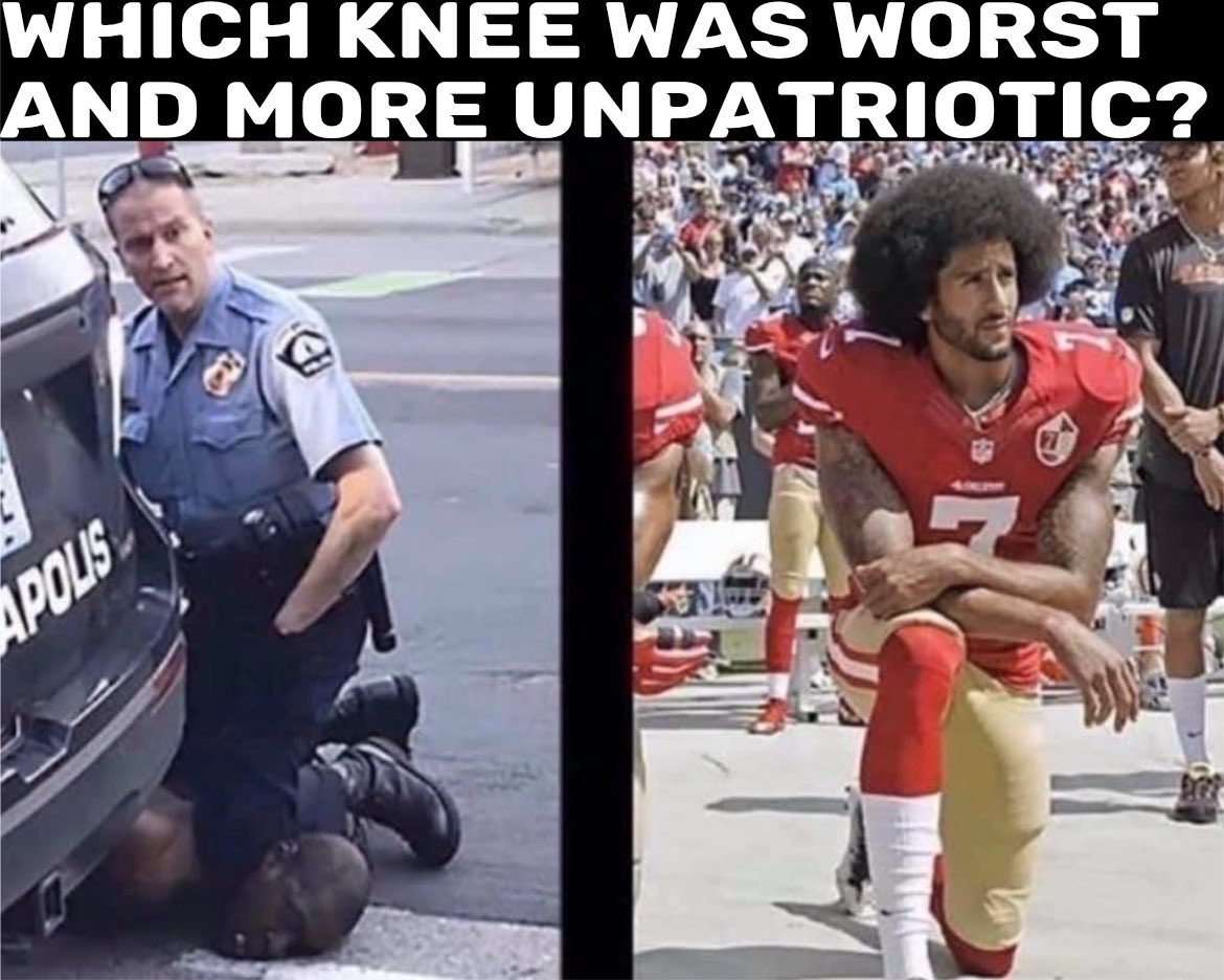 To give those that think this overblown a does. Kaepernick's knee didn't kill anybody. In fact, it was his right to do so. pic.twitter.com/8gQTlHbpVY