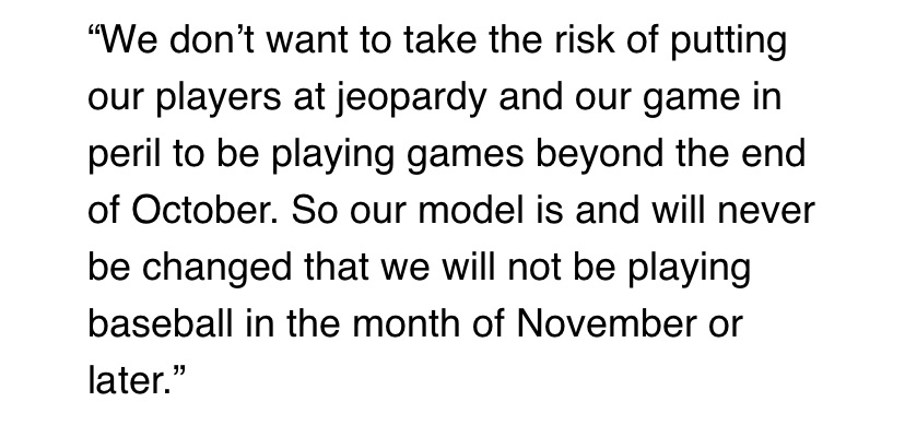 "Arizona Diamondbacks owner Ken Kendrick told @BurnsAndGambo the league will not approve any plan with baseball in November — including the union's 114-game plan with a regular season that ends Oct. 31. The March agreement offered ""the possibility"" of games beyond normal schedule."