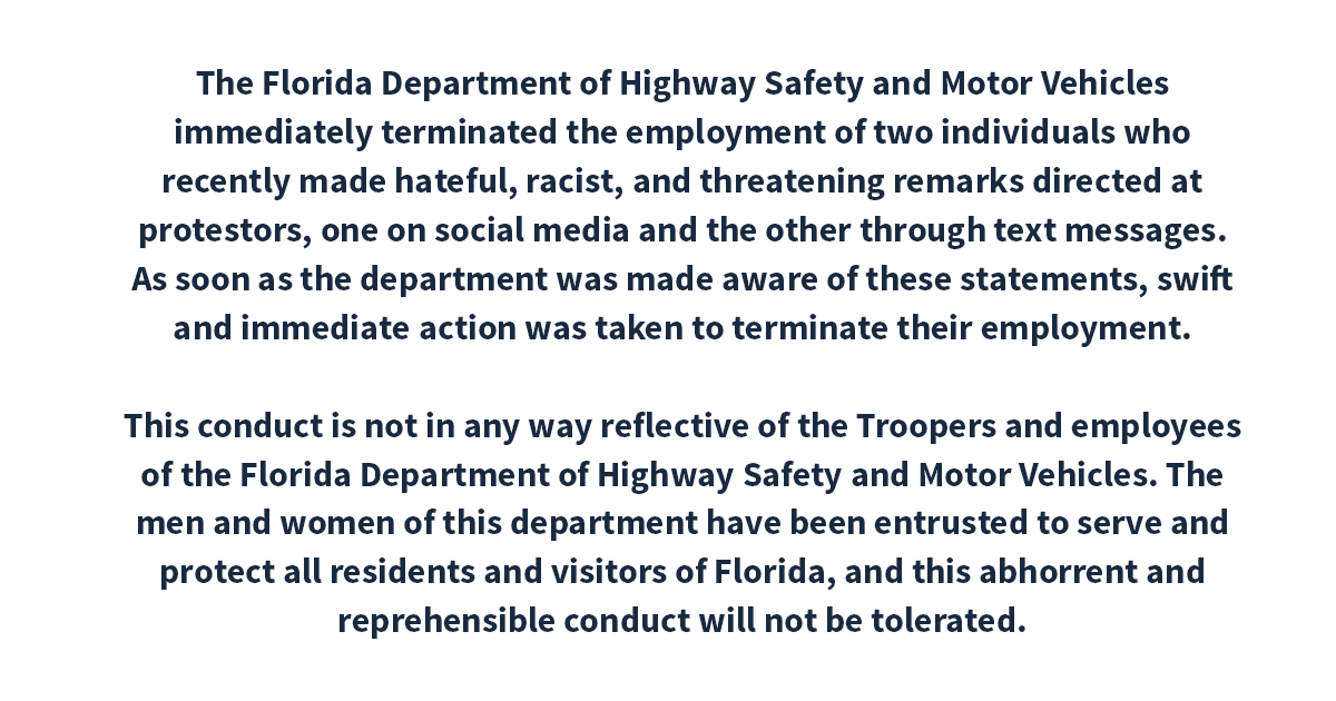 The Florida Department of Highway Safety and Motor Vehicles has fired two employees for hateful, racist, and threatening remarks. https://t.co/loiF6M9bdo