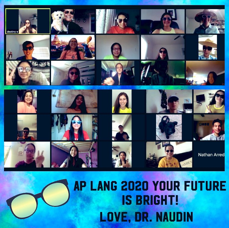 What an incredible year it has been. I'm grateful to have shared it with an amazing group of students.  #Grateful  #lastdayofschool #zoom #nlmusd #aplang #aplangchat #summertime<br>http://pic.twitter.com/merdxnvJ26