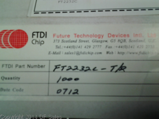 FT2232C In Stock QTY: 747 $5.20 each   Warehouse: San Jose, CA, USA Manufacturer Part Number: FT2232C Manufacturer: FUTURE TECHNOLOGY DEVICES INC. Country of Origin: United States Datecodes: 0712 https://www.dfsales.com/products/ft2232c … #dfsales #futuretechnology #topquotes #instockpic.twitter.com/O8X36AYQc4