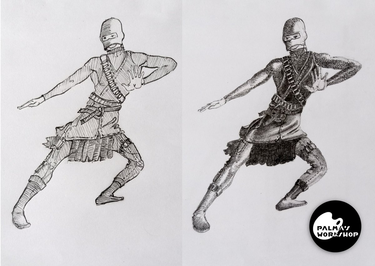 I draw the same character with a diferent style, which one do you think looks best? If you want one for yourself you can conntact me here: https://www.fiverr.com/share/odKpg4   #ninja #pencildrawing #art #artwork #dnd #dndCharacter #dndart #sketchdaily #sketchbook  #drawing #illustrationpic.twitter.com/31g9RwKnUX