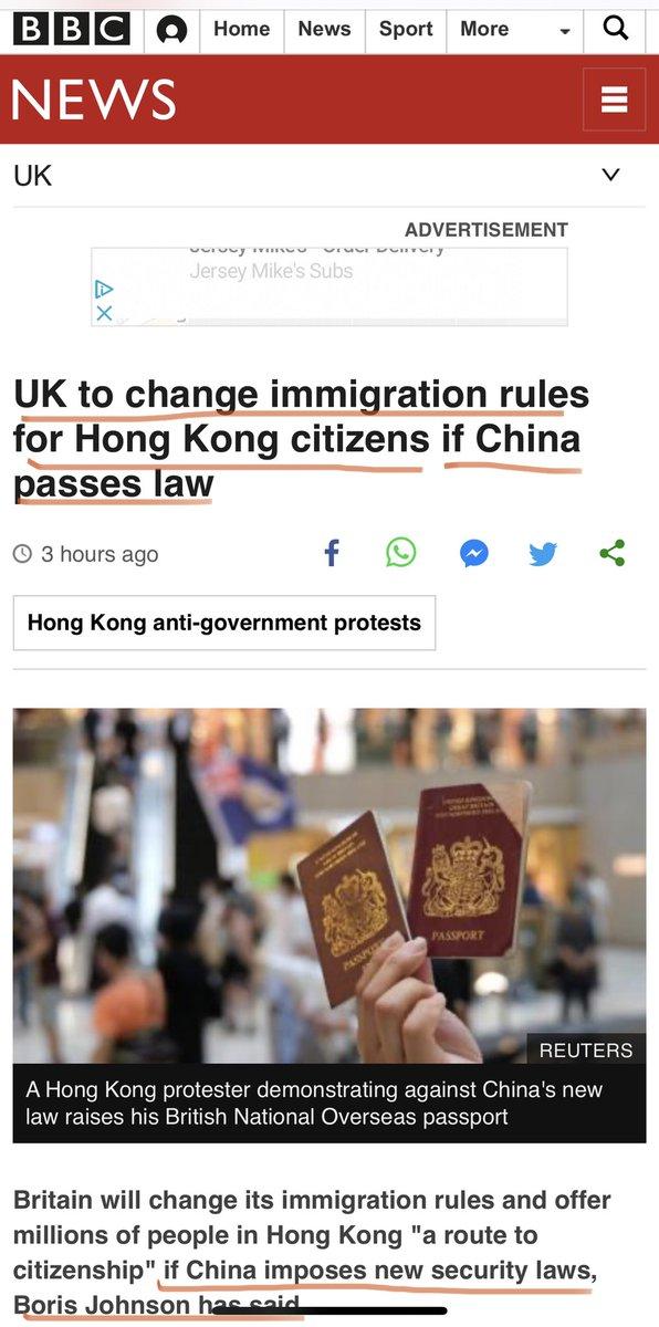 英国首相约翰逊今日确定:如果中共通过恶法,英国也将改变法律!  允许近300万港人,无需签证入境英国长达一年 https://t.co/MgyGDVwY28
