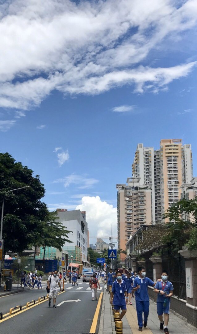 Shenzhen sky today. There's a reason why our school uniforms are blue.