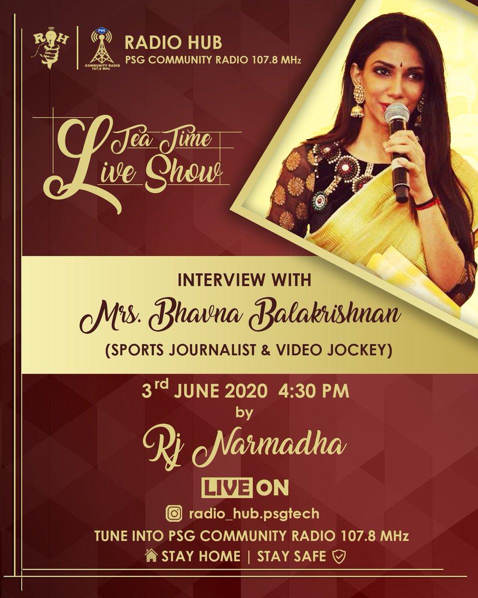 Radio Hub 📻 is extremely happy to present you an Interesting interaction with the media stardom ⭐, Mrs. @Bhavna__B by RJ Narmadha!! Catch them live Today by 4:30 PM ⏰ to watch👀 the interrogation🥳 !! #RadioHub #AnchorBhavna #vijaytv #anchor #Bhavna #starsportstamil #musician https://t.co/8G1yuf6xKz