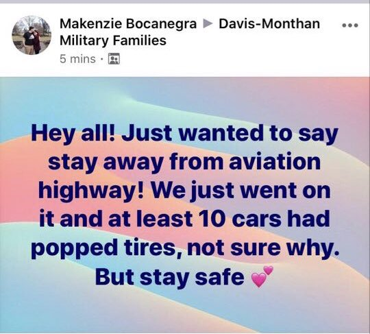 @ArizonaDOT, have you had any reports of several cars getting flat tires on Aviation Highway in #Tucson? Thx.