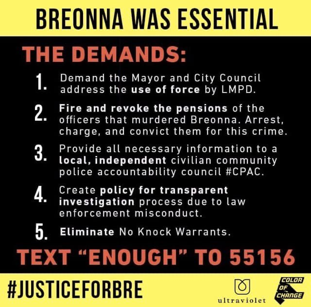 Don't forget to let @louisvillemayor that we demand the Elimination of No Knock Warrants and all officers involved in the murder of #BreonnaTyalor and #DavidMcAtee be fired and charged. If you can't be out in streets, do all you can to keep the pressure on until we get justice. https://t.co/jkIIiBNQQe