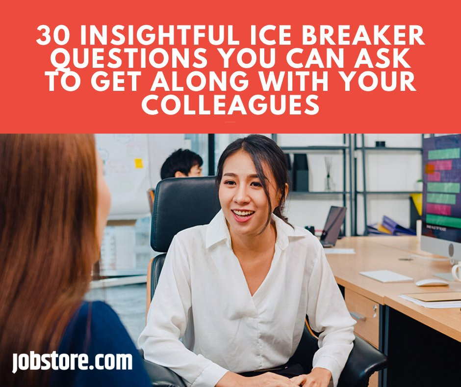 Consider asking these insightful ice breaker questions to help you create a relaxed environment for your meetings, training sessions, and team-building events with your colleagues. Read more : https://www.jobstore.com/careers-blog/2020/06/03/30-insightful-ice-breaker-questions-you-can-ask-to-get-along-with-your-colleagues/…  #Jobstore #Colleagues #Employees #IceBreaker #TeamBuilding pic.twitter.com/rIKJcuDCsW