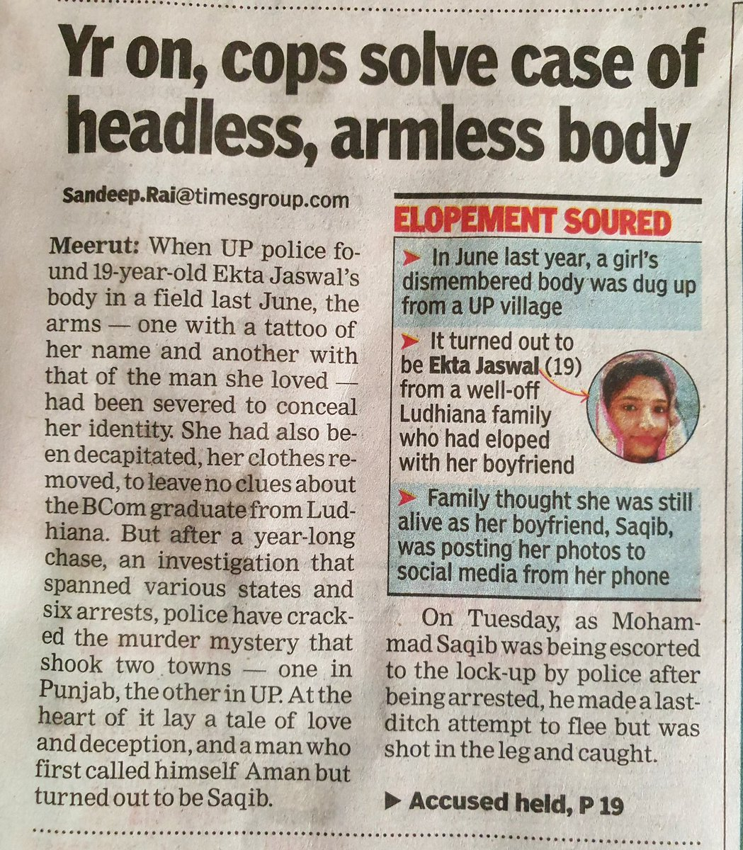 June 2019 - a girl's headless, armless body was dug up in UP.  Murder mystery resolved as she was Ekta Jaiswal from well-off Ludhiana family, Police arrested her boyfriend Aman (real name Mohammad Saqib) who killed her with 5 of his kin including father, brother, sister-in-law. <br>http://pic.twitter.com/D6xxiqJeV5