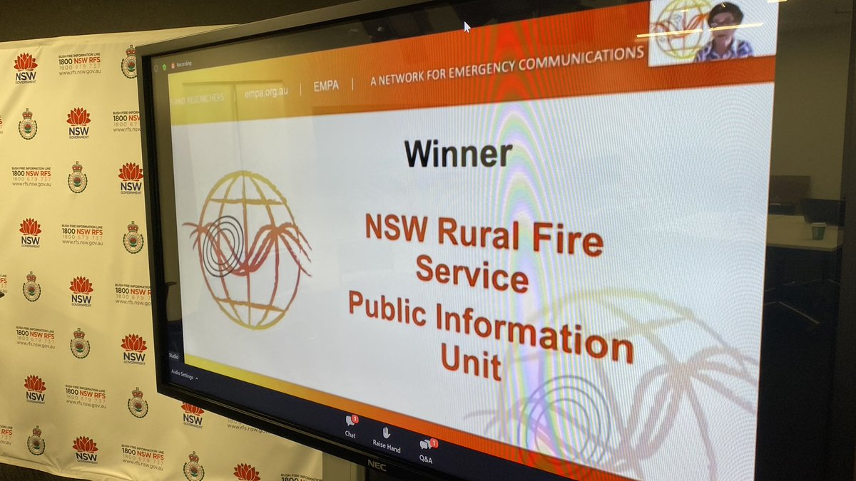 Nice recognition for the #NSWRFS with award for response communications at #EMPA2020 - unprecedented season and unprecedented effort from the entire team. Well done all. https://t.co/kaoBS7zZVD