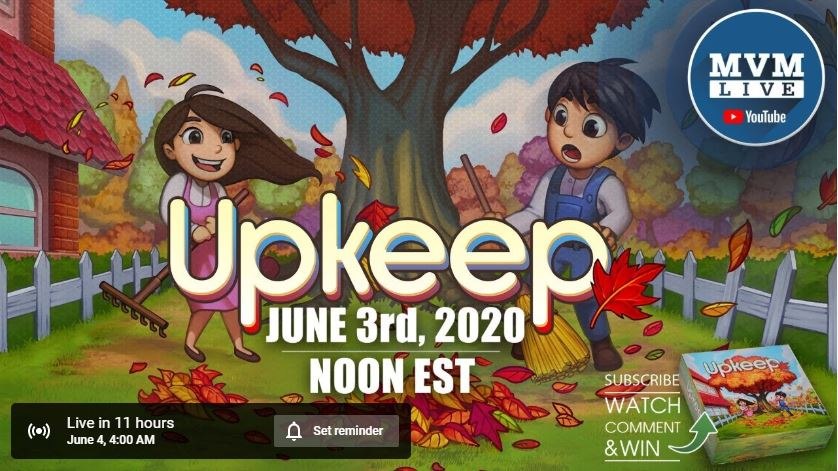 Tomorrow at 12pm EST (June 3rd), Man vs Meeple will be doing a Live play of our game Upkeep.  We hope you can join us. https://www.youtube.com/watch?v=6JxQoXDra4w&feature=youtu.be …pic.twitter.com/ri21ZkgVFn
