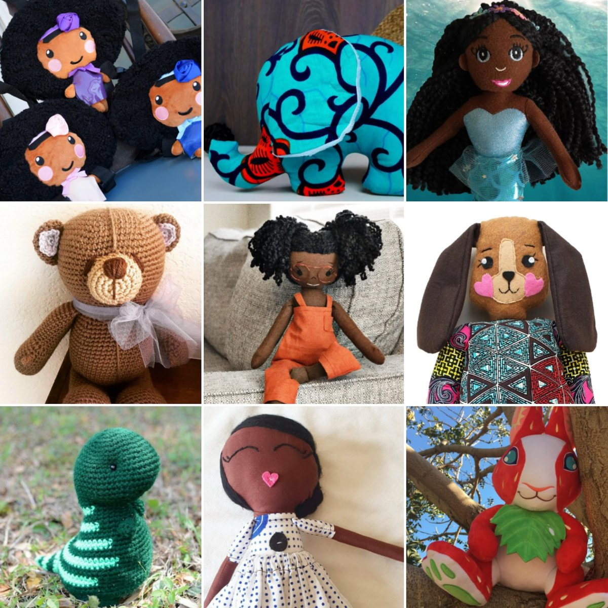 Are you looking for a soft friend in these tough times? Would you would like to support the black community? Here are 9 #BlackOwnedBusinesses that sell stuffed animals and dolls! #BLM #BlackLivesMatter  THREAD: