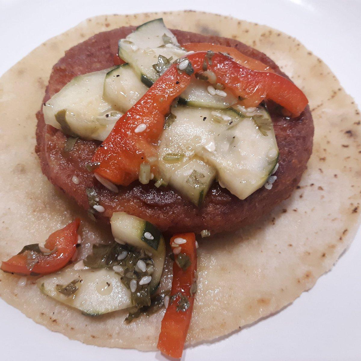 For lunch I had @RainbowAcresCa cucumber salad and #TraderJoes protein pattie #veganfood #veganlunchpic.twitter.com/m7cgkc4tkX
