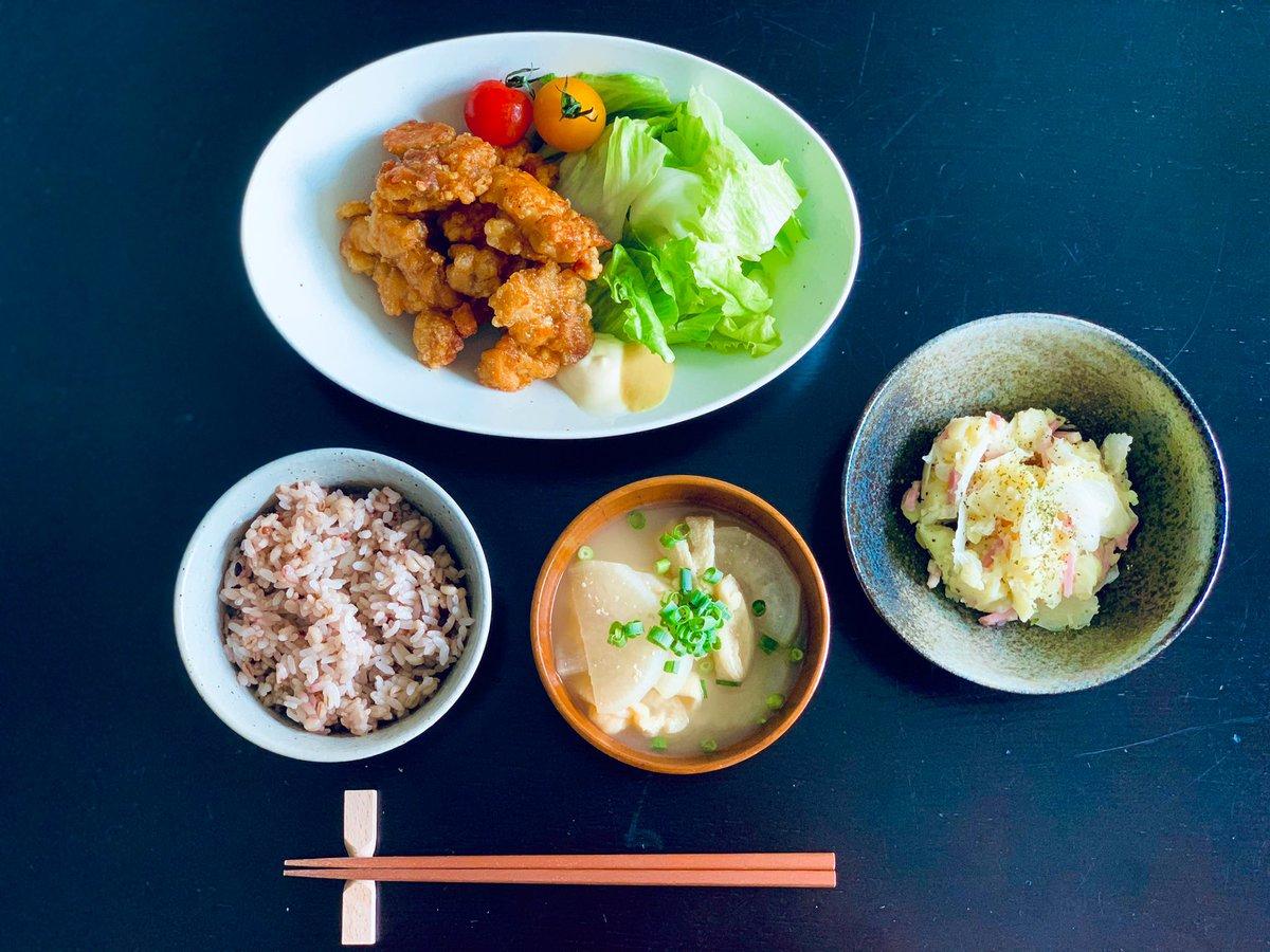 #朝ごはん▶ 唐揚げ(Fried chicken)▶ ポテトサラダ🥔(potato salad)▶ 味噌汁(大根・油揚げ)(Miso Soup)朝起きて「唐揚げ食べたい」ってなって作りました鶏むね肉細切れの唐揚げです(最近揚げ物にカラシつけるのハマってる)#Japanesecooking #おうちごはん #料理好きと繋がりたい