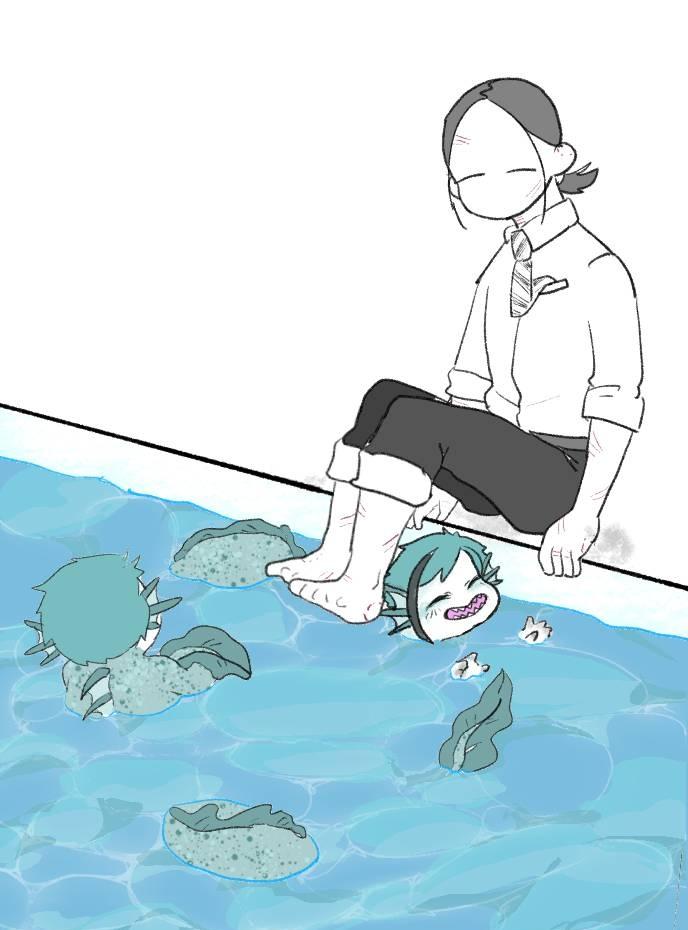 リクエストより「稚魚ちゃん達が監督生と仲良く遊んでるです」トンネル遊び無限ループ。