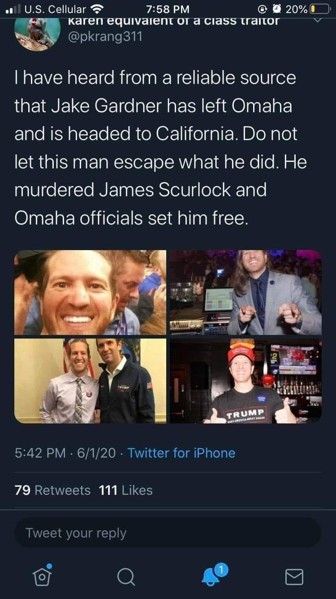 I know I only have 163 followers but please get this out to California. Racist club owner Jake Gardner shot and killed 22-year-old James Scurlock during a BLM protest in Omaha, NE. He wasn't charged and appears to be fleeing your way. #blm #BLMprotest #Omaha https://t.co/lFjbmoauZF