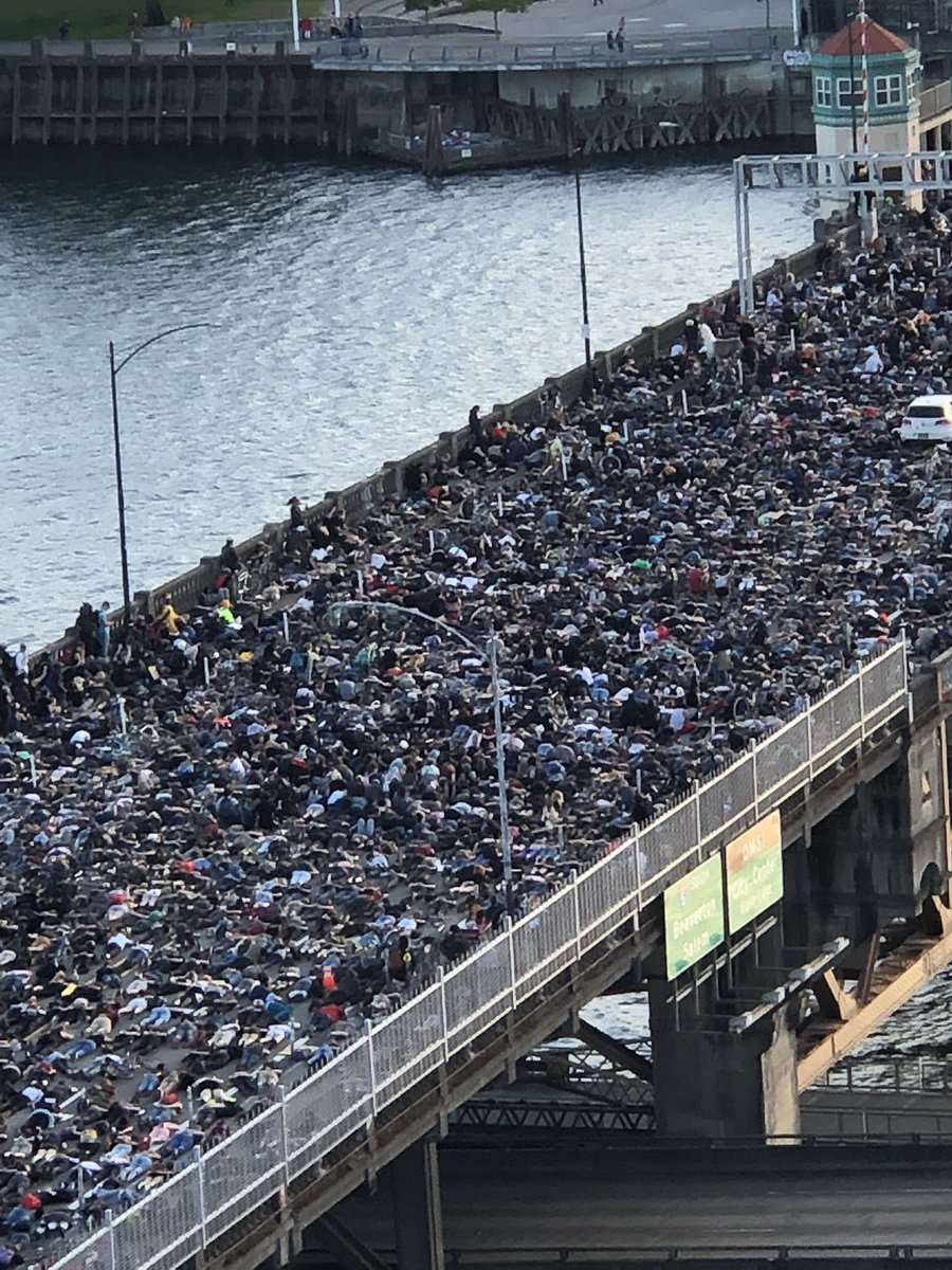 Protesters on the burnside bridge in Portland, Oregon pic.twitter.com/0GYVXnVq8P  by 𝑻𝒂𝒆 𝑳𝒐𝒗𝒆𝒔 𝒎𝒆𝒓𝒊𝒔𝒔𝒂