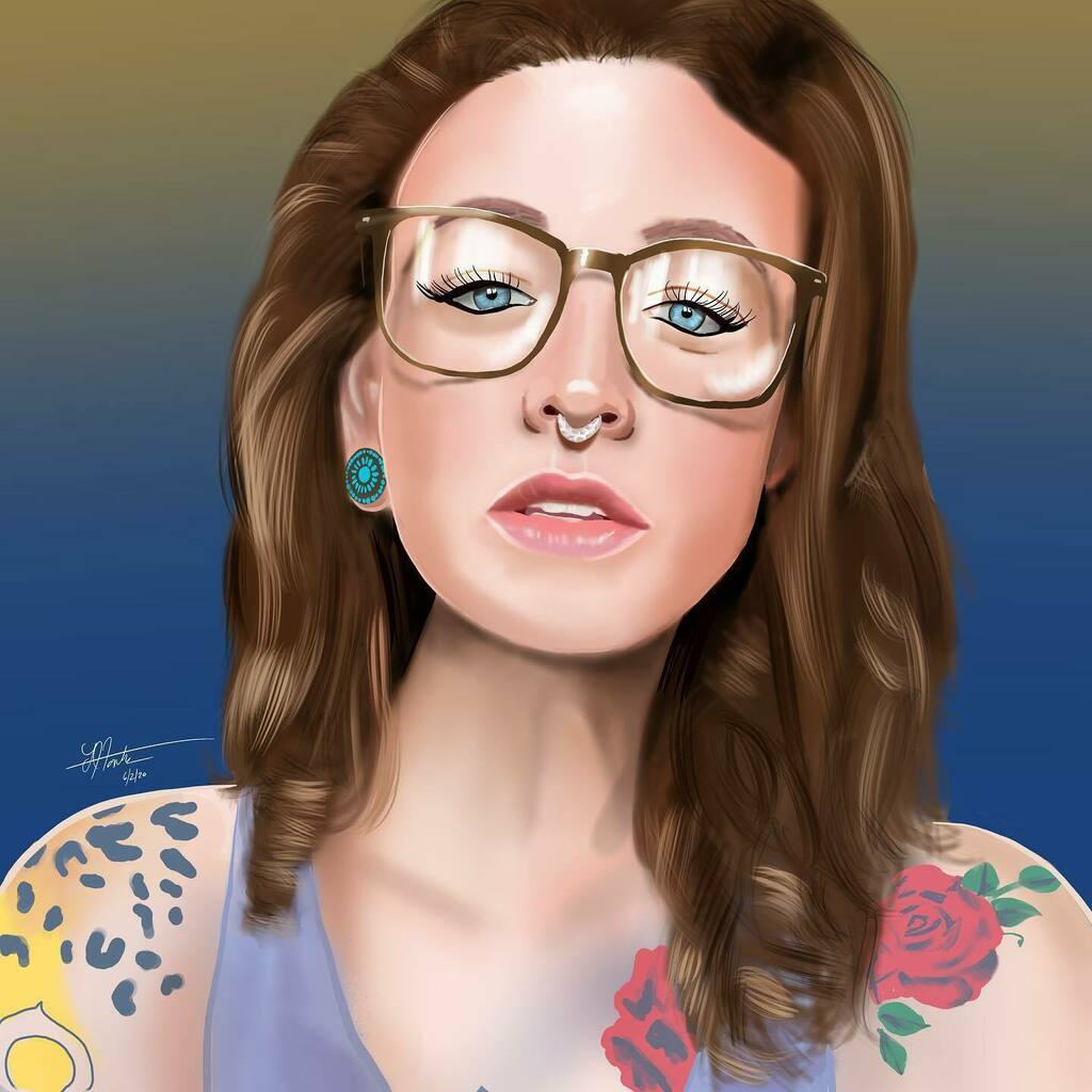 Tonight's painting was inspired by the #beautiful @beezy.bee #tattoos #glasses #blueeyes #tattedchics #californiadreaming #inkedwoman #tattooedwomen #positivevibes #lenfontes @procreatepic.twitter.com/hpEU6g2P0y