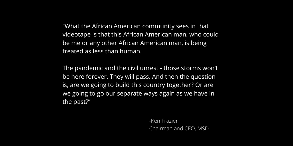 Our CEO Ken Frazier calls for unity on CNBC. https://t.co/oyx9wWChOm https://t.co/8NjJD4x8bL