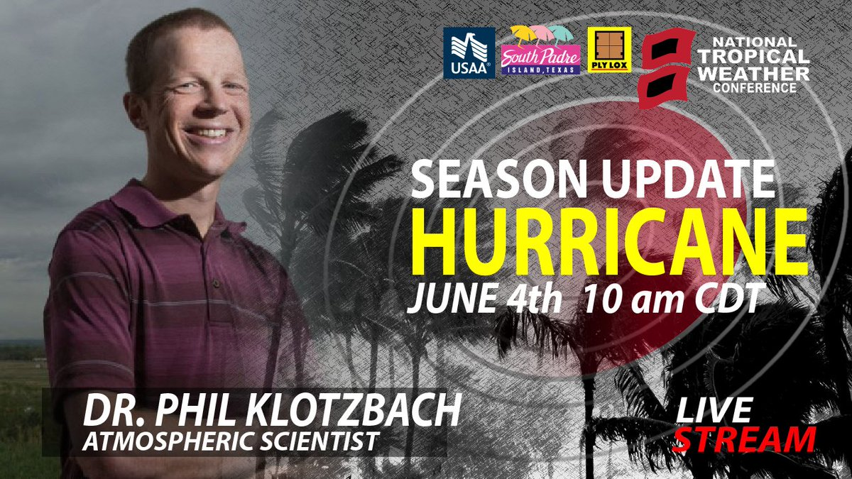 Dr. Klotzbach updates his 2020 Hurricane Seasonal forecast. June 4, 10am CDT. Its day three and we have already have 3 named storms! Register FREE here: form.jotform.com/200957673524057 @USAA @PLYLOX @SouthPadreTexas @AMSBroadcaster @iaem @disastersafety @weatherchannel