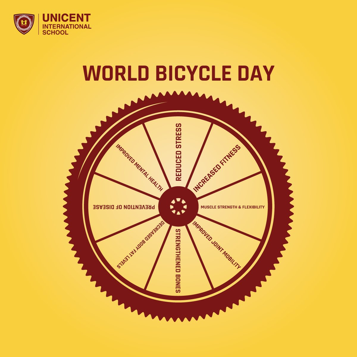 Zoom in to view the health benefits of regular cycling.  #UnicentSchool #BicycleDay #Healthy #Fit pic.twitter.com/ADVsim9f3Z