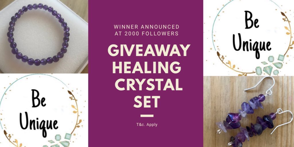 GIVEAWAY ALERT   Follow @Be_Unique_UK  Tag a friend  RT this post  Good Luck #win Crystal Healing jewellery set   http:// BeUniqueJen.etsy.com       #WinItWednesday #WednesdayWisdom #WednesdayVibes #wednesdaymorning #Competition #GiveawayAlert #giveaway #blogger <br>http://pic.twitter.com/WuJd0KKVMM