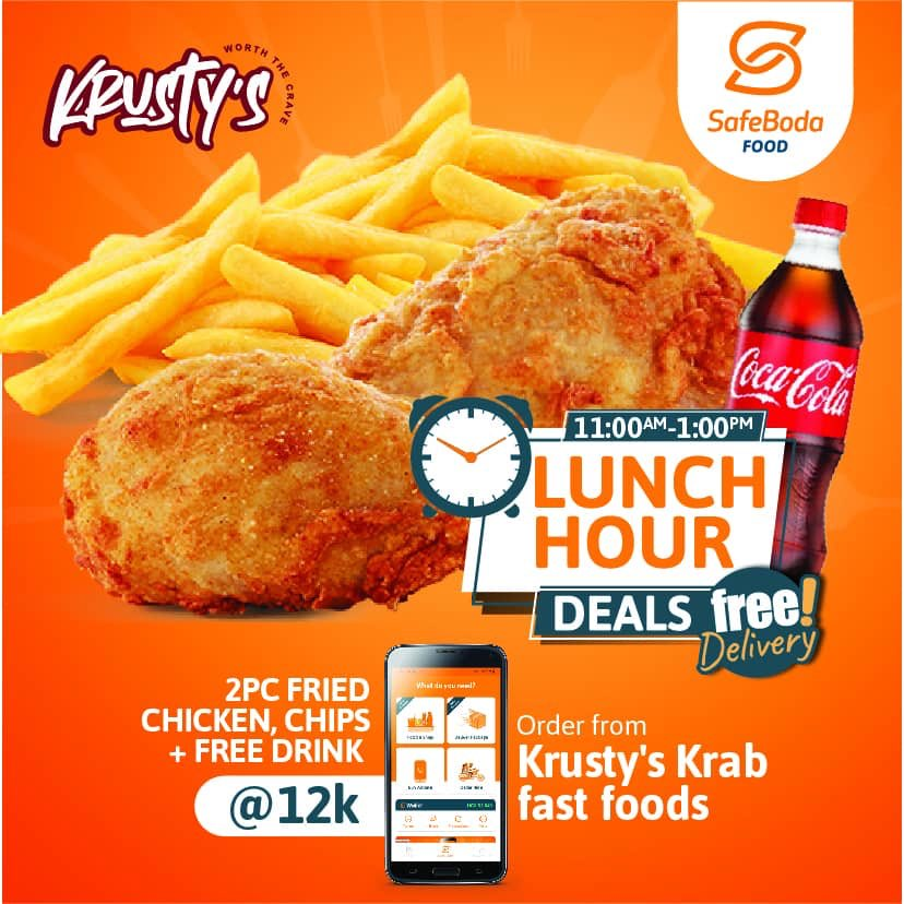 Grab 2pcs of fried chicken, chips and a FREE coke to go with from @KrustysUg through the @SafeBoda app between now and 1pm. #HappyHour Deals include FREE delivery as long as you order between 11am & 1pm. #SBFood #SBShoppic.twitter.com/BXA18eWzjz