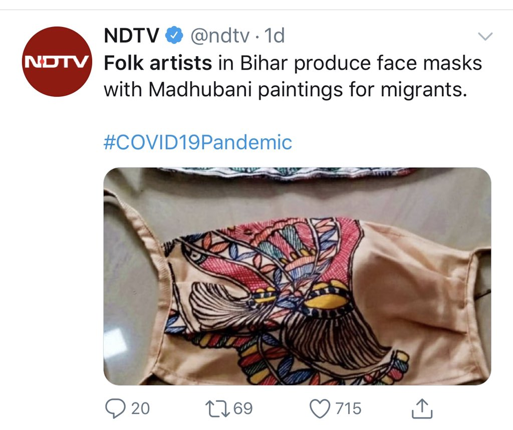 Thank you @sanket n @ndtv for 'at least highlighting' the story of these masks. Now, let me give you a lesson in REACH. @ndtv tweet was RTd by less than 70 people. MY tweet on 'these masks' giving due credits to Asha Jha ji has 2400 + RTs! Guess who 'highlighted' whom? https://twitter.com/sanket/status/1268088854281515008…pic.twitter.com/CsK9v8Swyk