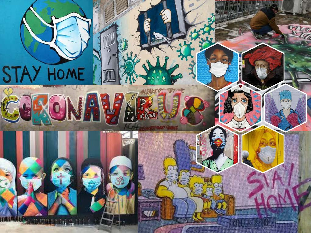 When is graffiti street art and when is it vandalism? This question is posed by the film Free Art (https://t.co/AuoVe951Hx) which inspired a Portuguese teenager to make this stunning collage of COVID-19-related graffiti in her area. @dialls2020 @DiallsLT  @diallspt @DIALLS_cy