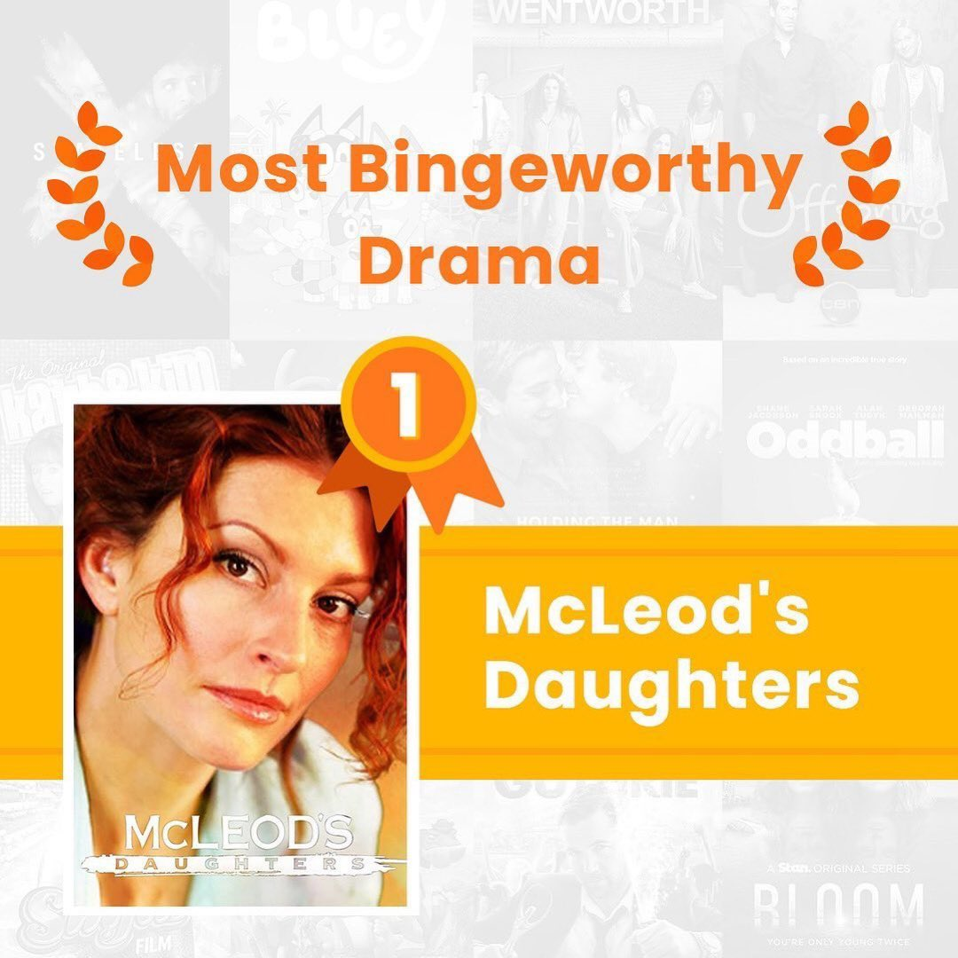Congratulations to McLeod's Daughters on taking out the title for 'Most Bingeworthy Drama!' 🥇👏❤️❤️ 🌟 🌟 🌟 🌟 #lovedmcleodsdaughters #bringbackmcleodsdaughters #aussieshowsarethebest #makeitaustralian #weneedtosupportaustraliantalent #wouldloveafollowfromthecast https://t.co/WUwv9tNcbt