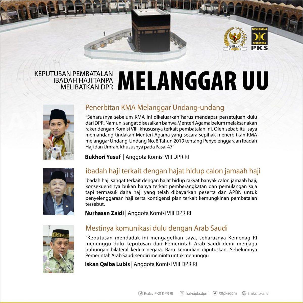 Keputusan pembatalan Ibadah Haji Tanpa Melibatkan DPR Melanggar Undang Undang.  #Fraksipksdprri  #BerkhidmatUntukRakyat  #pksawasikabinet https://t.co/z9SwUew85e