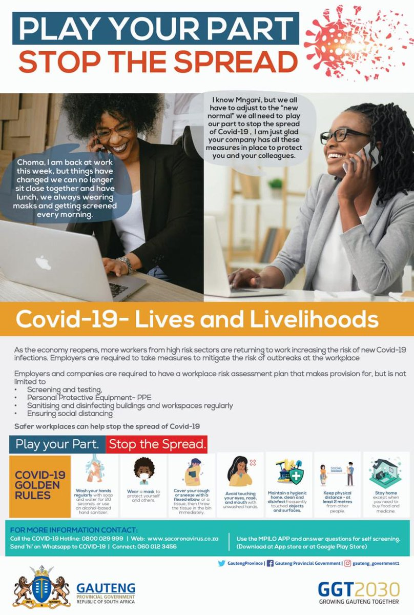 Let's all play our part in preventing the spread of #Covid_19. Practice the Covid-19 Golden Rules and save lives.   #StopTheSpread #BeTheChange pic.twitter.com/KVn3GTZsOj