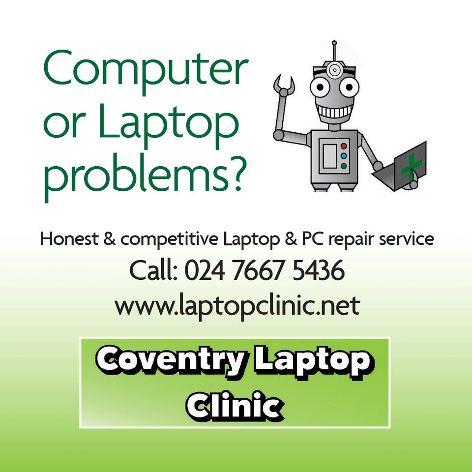 Get an honest & competitive laptop and PC repair service from @covlaptopclinic. Read customer testimonials online: ow.ly/jWwX50zVRQN #covhour #computerrepairs #computerrepairservice #laptoprepairs #laptoprepairservice #coventry #kenilworth #warwickshire
