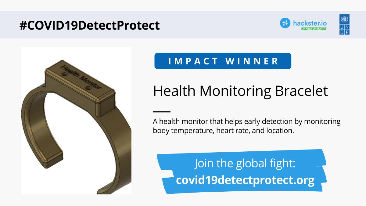 #COVID19DetectProtect Finalist Announcement  #EarlyDetection is essential in beating #COVID19. This device can aid in health monitoring and #ContactTracing.   📝  Interested to discuss how these can be implemented? ✉️registry.sg@undp.org  @Hacksterio @UNDP