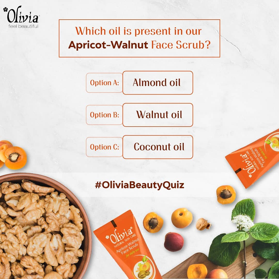Our quiz is live. Can you guess the correct answer? Two winners will receive amazing Olivia goodies. . . . . . #oliviacosmetics #quiz #gametime #facescrub #walnut #funtime  #loveyourself #selfgoals #HomeBeauty #happiness #beauty #homestuck #todo #pamperyourself #skingoalspic.twitter.com/OmICH0kPMv