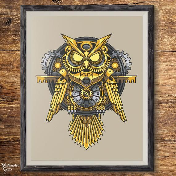 Do you love steampunk style like I do? Let's stitch this owl together:   #holiday #funny #owl #owls #steampunk #handmade #fun #nice #nofilter #Home #sun #goals #etsy #quote #crossstitch #etsy #etsyshop #etsyads #style