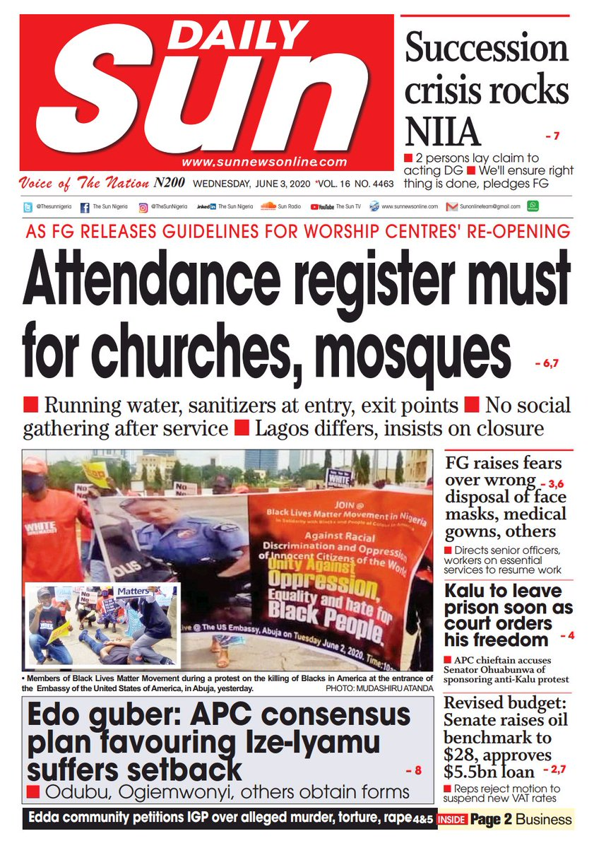 DAILY SUN is for sale across the country. - Visit a newsstand or ask your local news vendor. - Follow us on:  Twitter:  @thesunnigeria Instagram: thesunnigeria Youtube: The Sun Tv LinkedIn: The Sun Nigeria  #SUN
