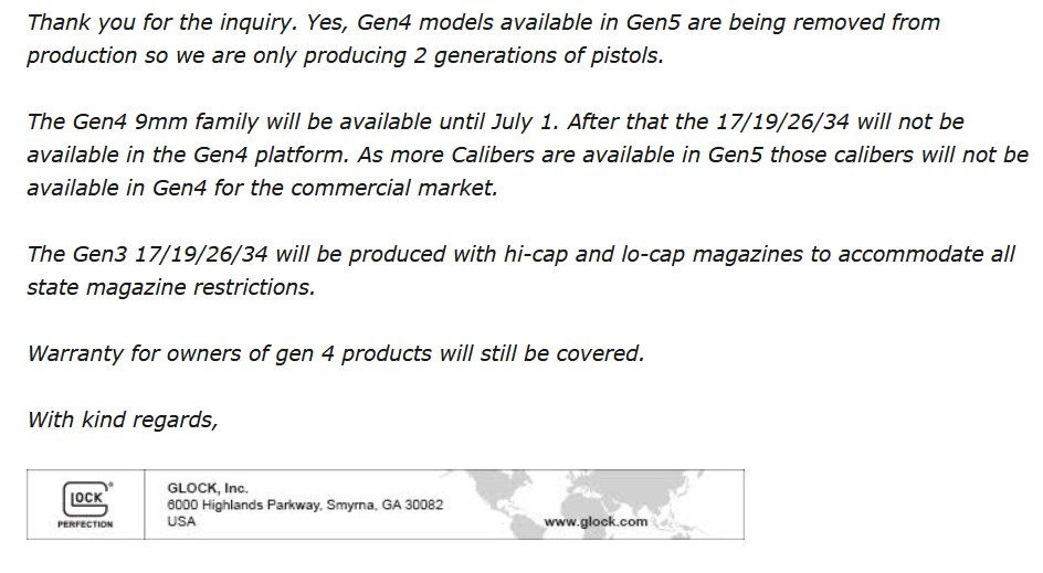 Gen 4 #Glock models that are also available in Gen 5 are being discontinued. 17, 19, 26, and 34. pic.twitter.com/kqDa1H9PoZ