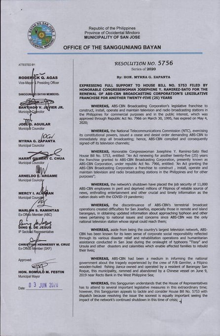 San Jose, Occidental Mindoro approves resolution expressing support for the renewal of #ABSCBNfranchise. According to Vice Mayor Rod Agas, the Kapamilya network helped in the relief and rehabilitation of the town after the onslaught of typhoon Tisoy and Ursula. | @Dennis_Datu
