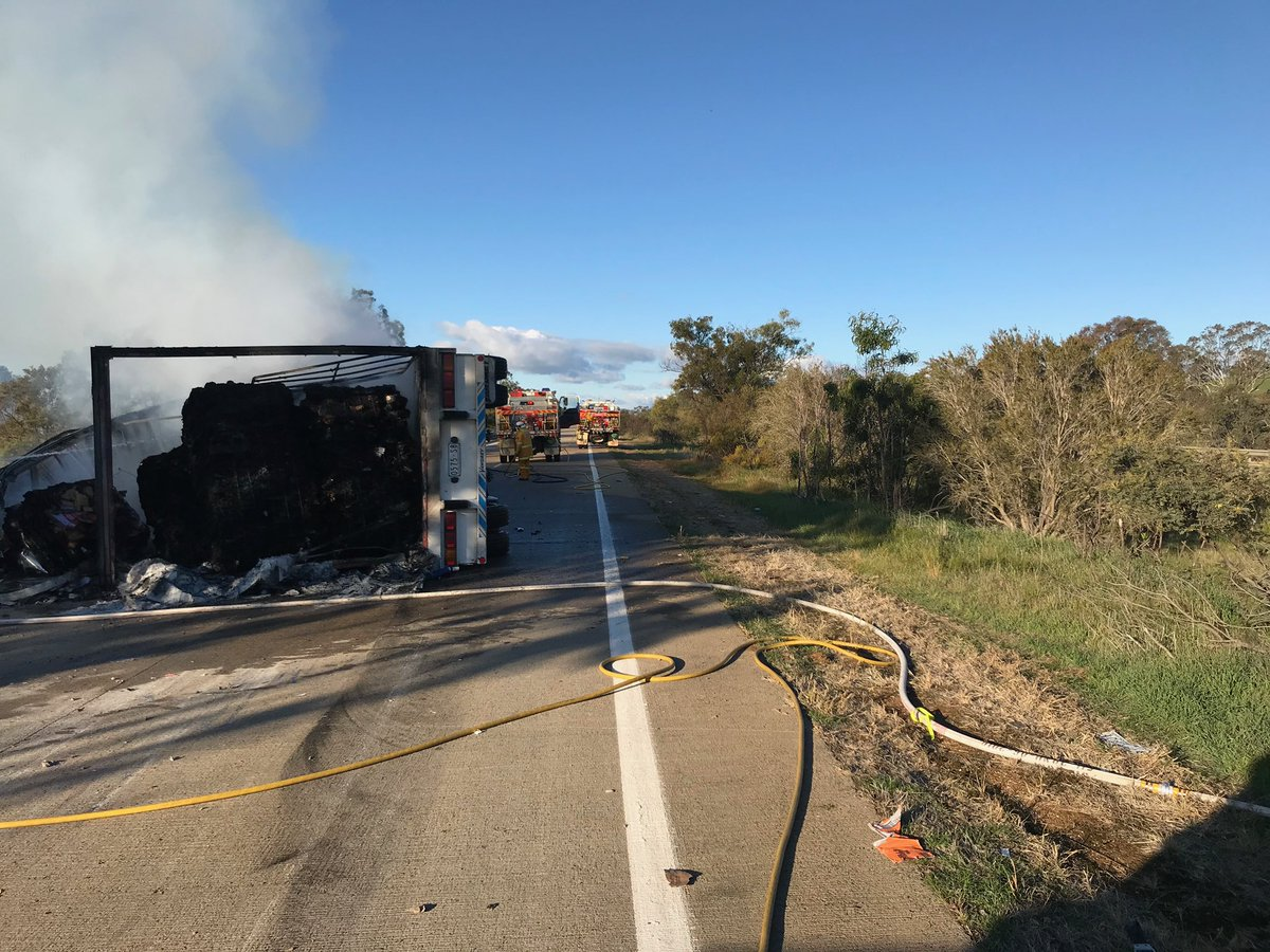 Emergency Services are on scene at a truck fully alight on the Hume Highway at Brookham, in the Yass Valley. All Northbound lanes are currently closed and are likely to be for some time. #nswrfs