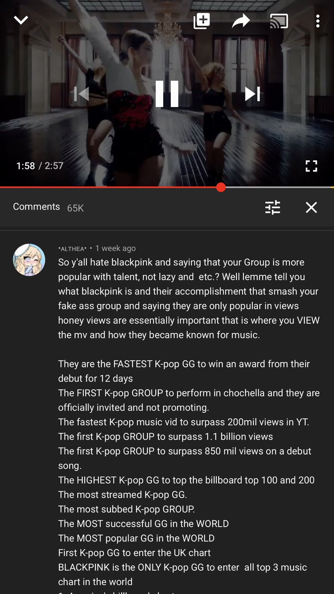 i saw this in YouTube while streaming and all i can say is, this is a big slap for blackpink's haters  keep barking and we keep winning <br>http://pic.twitter.com/x2q5nGlu8p