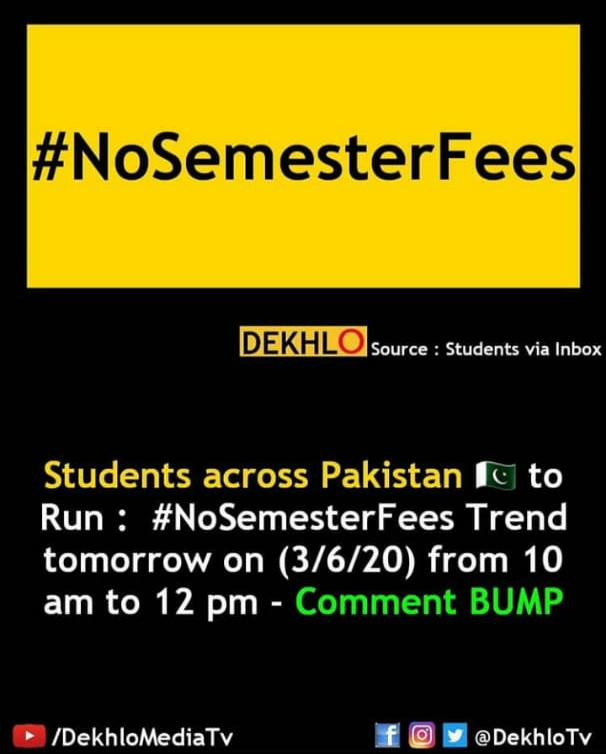 #NoSemesterFees unwantedly saying that this is our society in which at condition of crisis and curious condition they r demanding the sem fees there r much students who cant afford fees in this poor condition I the youth of Pakistan requesting them not to issue the sem fees .