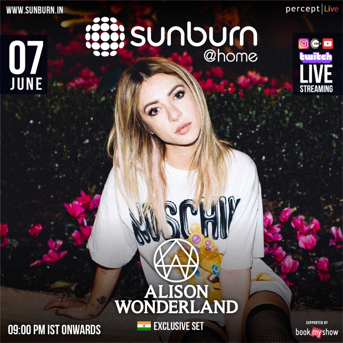 #Attention The Australian Producer, Songwriter, DJ know globally for her Future Bass & Trap Music @awonderland  to takeover #SunburnAtHome  this Sunday for her Special  Exclusive Get ready for her India digital debut!  9 PM IST onwards only our social media handles!pic.twitter.com/RBTak3JQgi