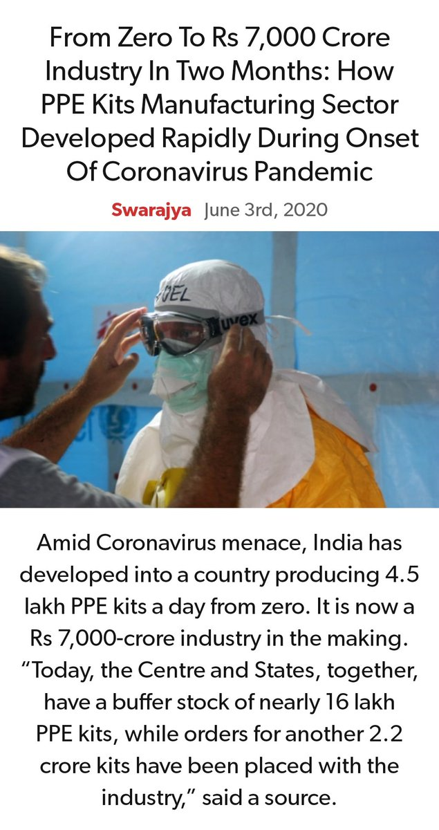From Zero To Rs 7,000 Crore Industry In Two Months: How PPE Kits Manufacturing Sector Developed Rapidly During Onset Of Coronavirus Pandemic https://swarajyamag.com/economy/from-zero-to-rs-7000-crore-industry-in-two-months-how-ppe-kits-manufacturing-sector-developed-rapidly-during-onset-of-coronavirus-pandemic … via NaMo Apppic.twitter.com/0JYrpvb9gB