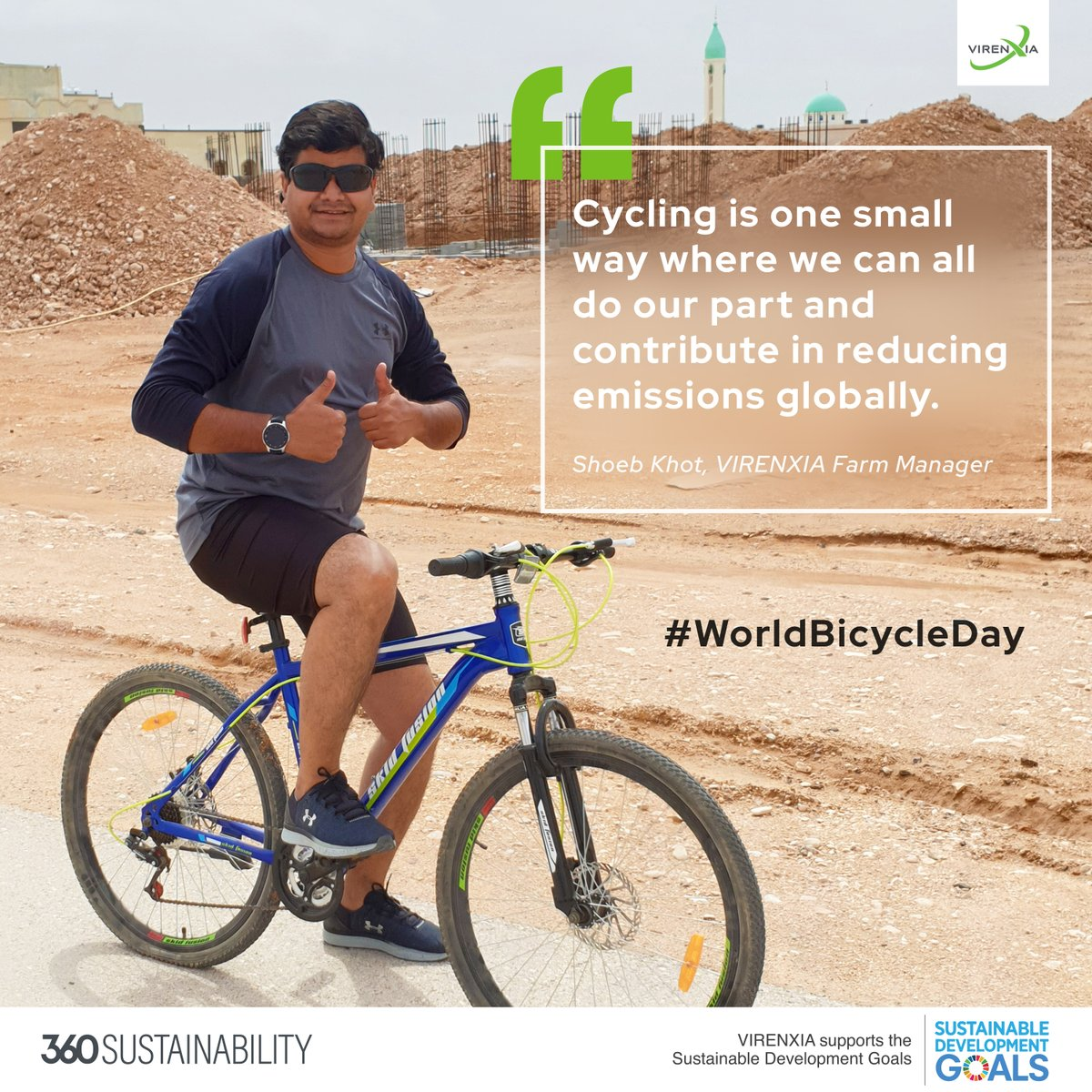 Happy #WorldBicycleDay2020 ! Meet Shoeb, our Farm Manager & a cycling enthusiast. Did you know, living car-free is the most effective way to reduce your carbon footprint? <br>http://pic.twitter.com/gEFNaIttS6