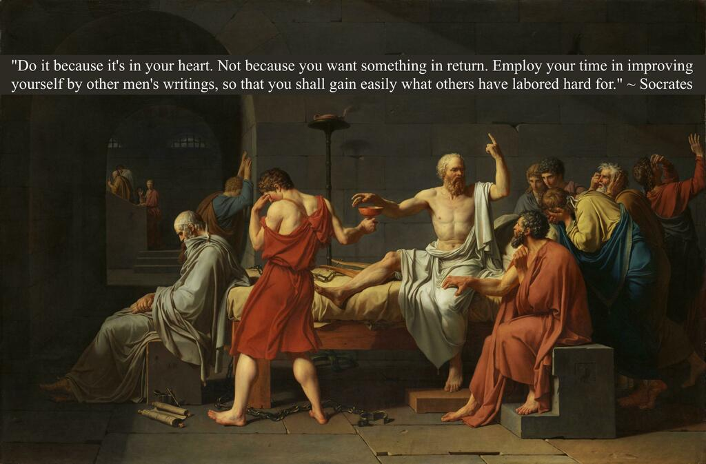"""""""Do it because it's in your heart..."""" - Socrates [3896x2559]  #Quotes"""