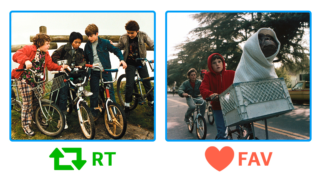 Hoy es el #DíaMundialDeLaBicicleta y es necesario que resolvamos este duelo de bicicletas ochenteras.   Los Goonies🔁 E.T. El Extraterrestre💙  Elijas la que elijas, puedes disfrutar de estos clásicos en @MovistarPlus. https://t.co/0ETbt8PmGD