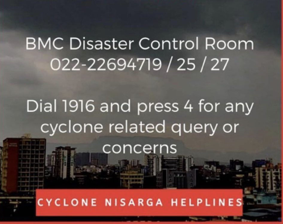 Everyone please take all the necessary precautions given by the BMC and stay safe and indoors! Here are some safety helpline numbers for emergencies!  Be precautious and Take care 🙏🏻 #CycloneNisarga https://t.co/InGTqaGcok